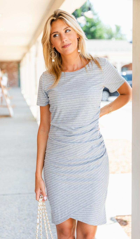 Adoring You Dress, Grey & White Stripe