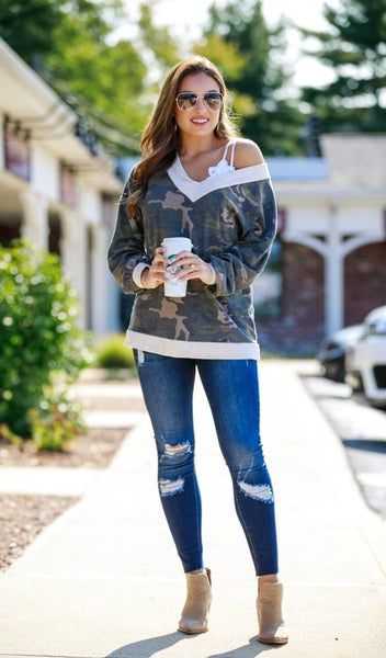 Fall Transition Top, Olive Camo