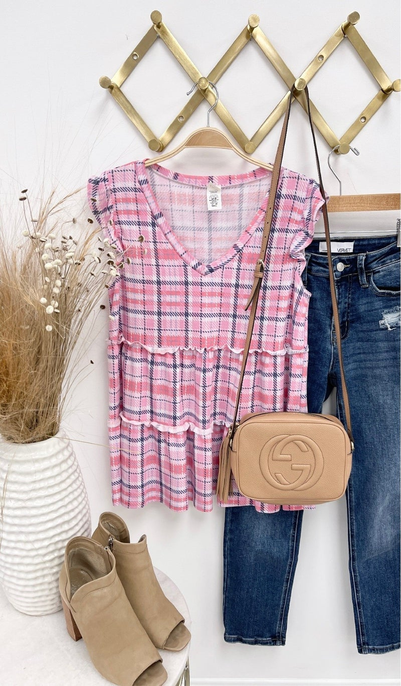 Sweet On You Top, Pink Plaid