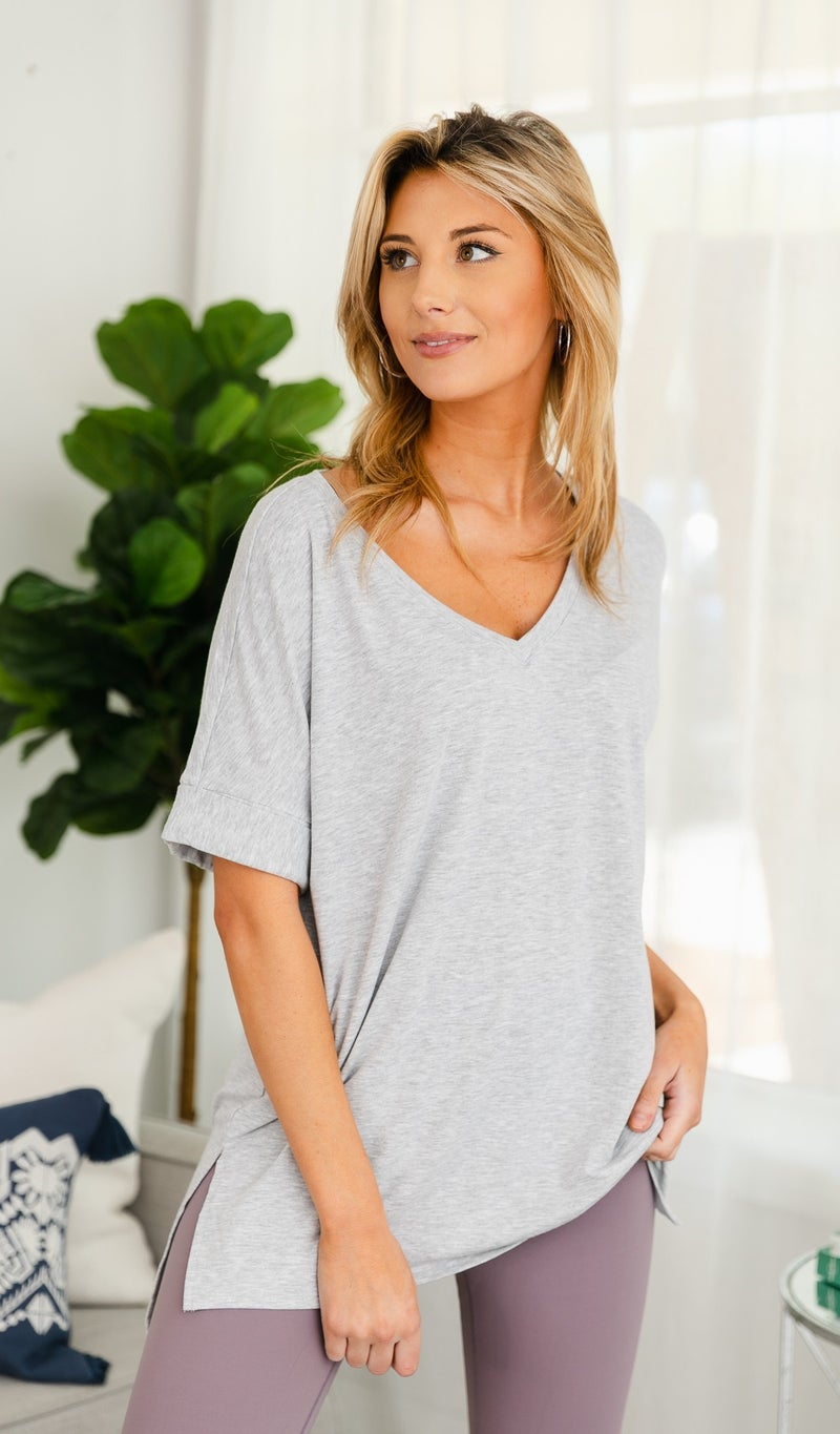 The Willow Oversized Tee, Heather Grey