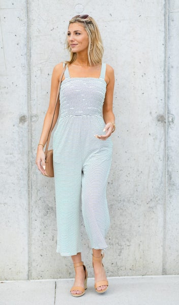 The Juliet Jumpsuit, White with Black Stripe