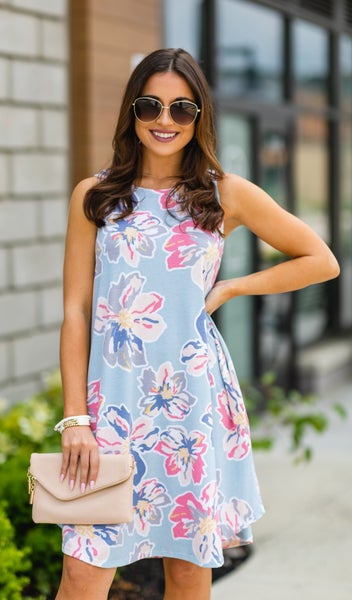 The Rosa Dress, Blue Foral