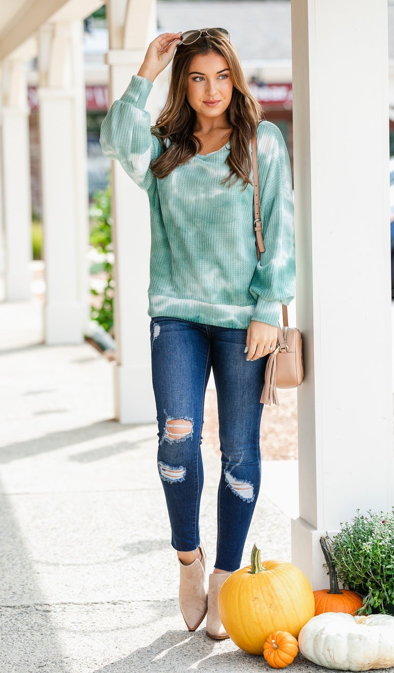 Away With Me Waffle Knit Top, Sage Tie Dye