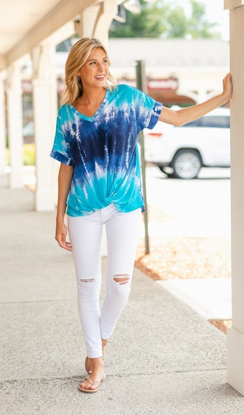 Get To Know You Tee, Blue Gradient Tie Dye