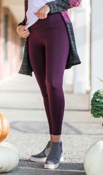 Premier Fleece Lined Leggings, Plum