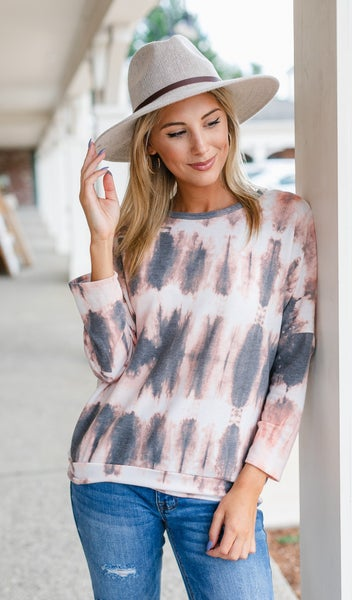 Always the Best Tie Dye Top, Mauve/Charcoal