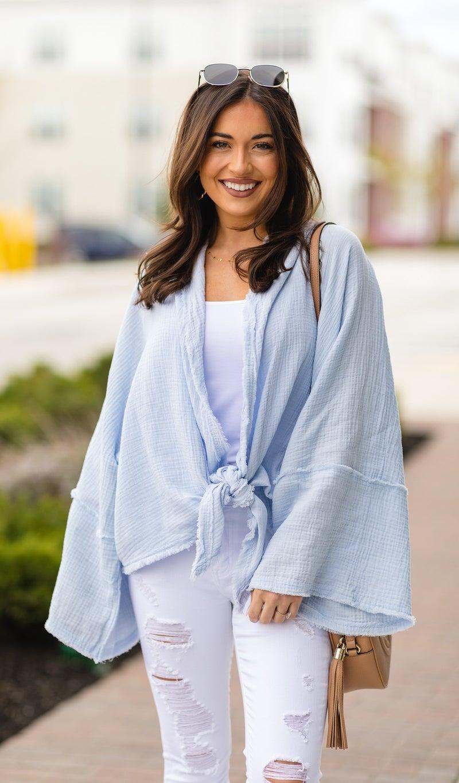 Finally Free Crinkle Kimono, Blue