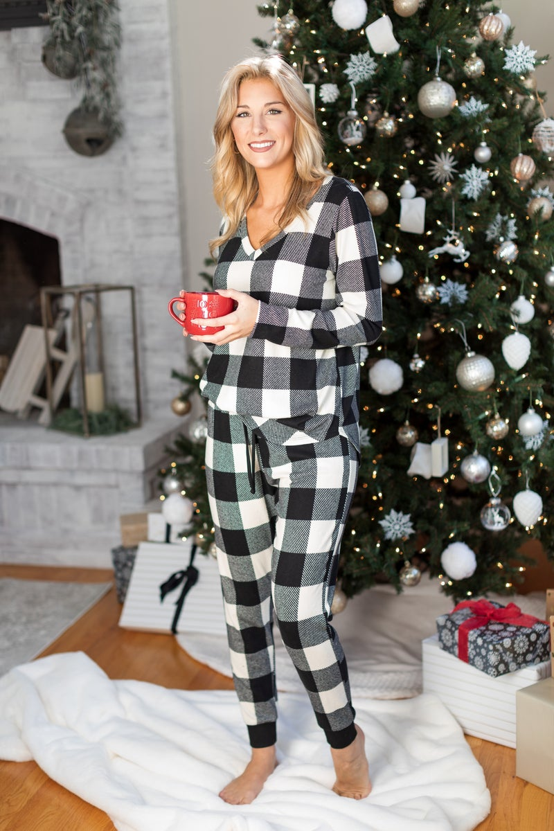 The Holly Plaid Top, Black/Ivory