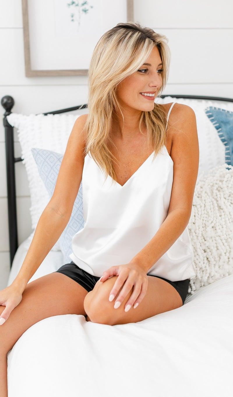 Summer Satin Loungewear Tank, Ivory, Green, Rose or Navy