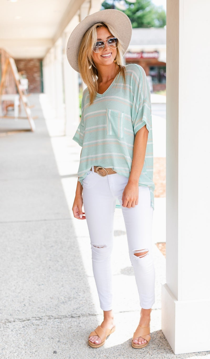 August Stoll Tunic, Mint Stripe