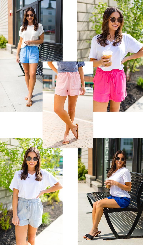 Beach Day Shorts, Fuchsia, Royal, Light Pink, Spring Blue, Heather Grey