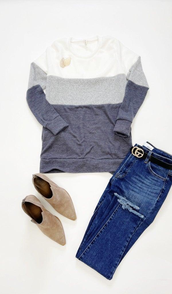 The Cora Color Block Top, Grey