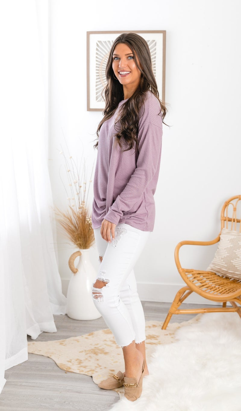 You Got This Thermal Twist Top, Lavender