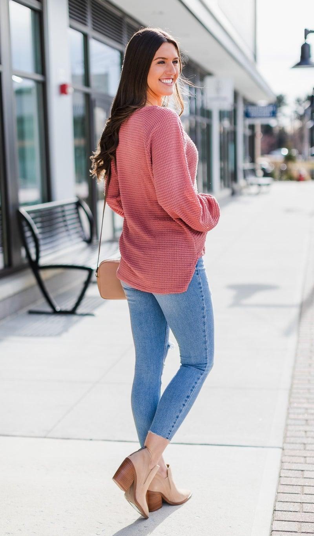 Charlie Waffle Knit, Pink