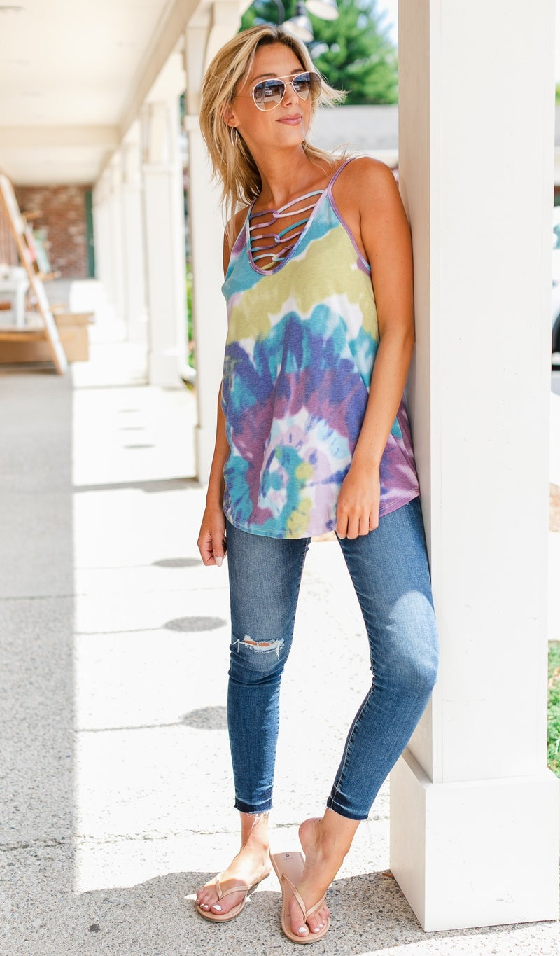 Fun Living Tie Dye Tanks-Lavender, Yellow, or Blue