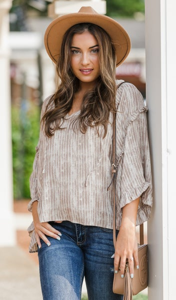 Like Me Print Top, Taupe
