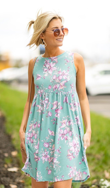 Tea Time Dress, Mint Floral