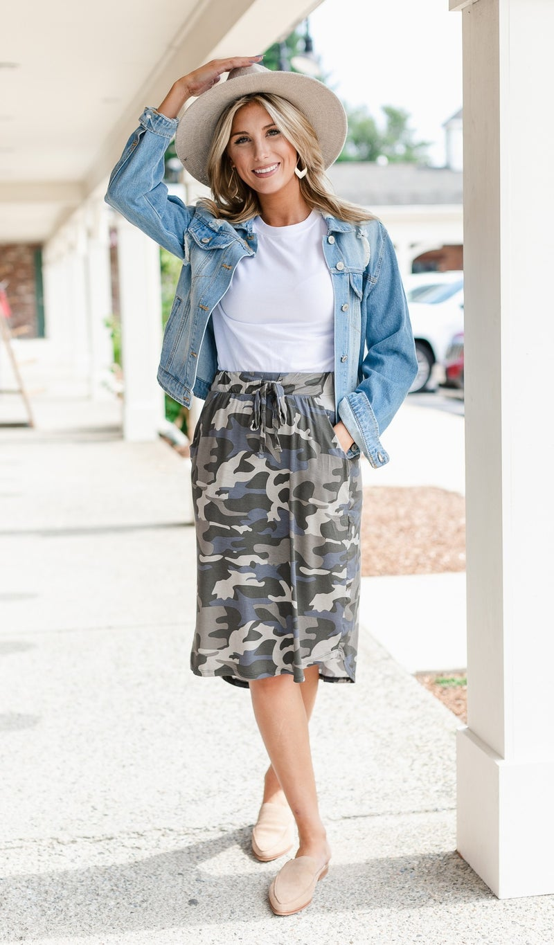 Perfect Fit Camo Skirt, Navy or Olive