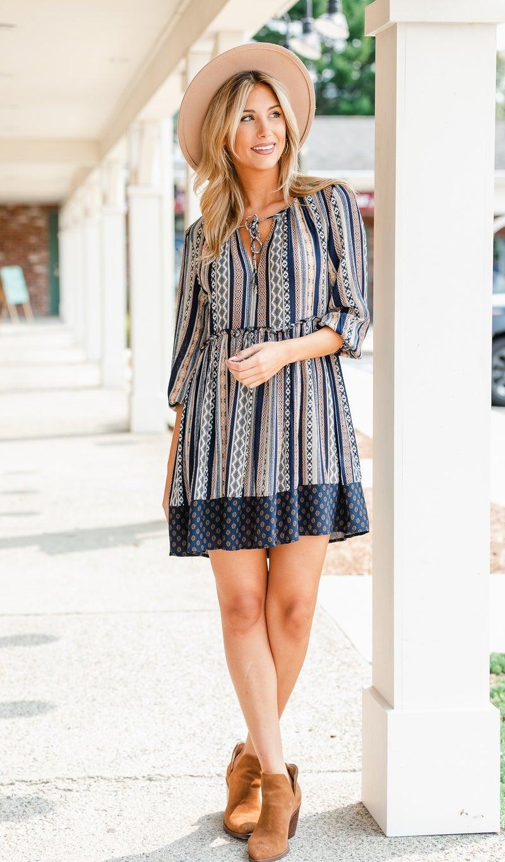 Fall Breeze Dress, Navy