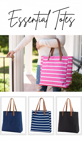 All You Need Essential Tote, Black, Navy, Pink Stripe, Or Navy Stripe