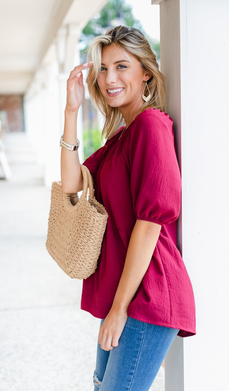 Lovely Days Top, Mustard Or Burgundy