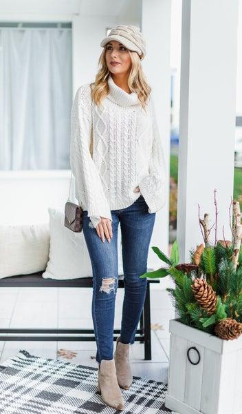 Snow Fall Sweater, White