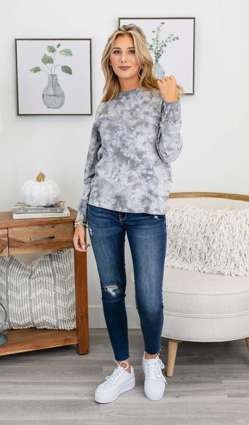 Casually Cool Tie-Dye Top, Olive or Grey