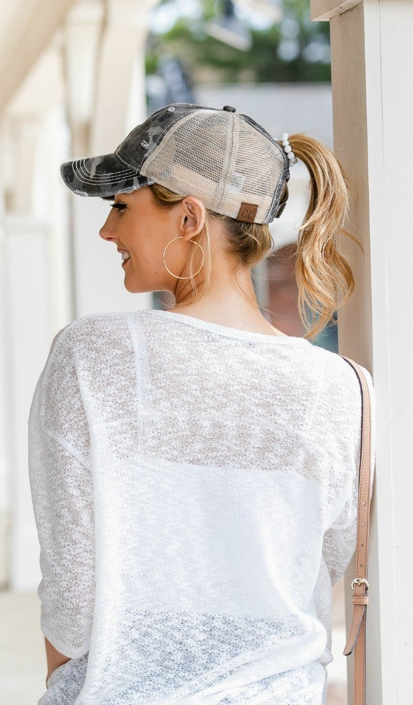 Cute N' Covered Hat, Vintage Grey Camo