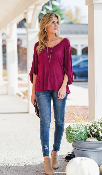 Leading The Way Top, Burgundy