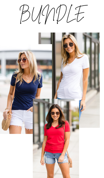 Simple As That Tee BUNDLE, Navy, Ruby, and White