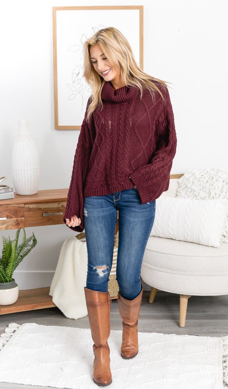The Skyla Sweater, Burgundy