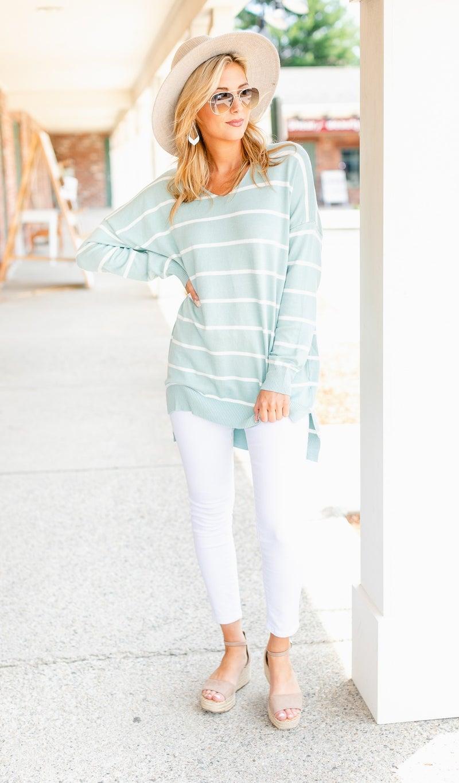 Go West Stripe Sweater, Mint or Ivory