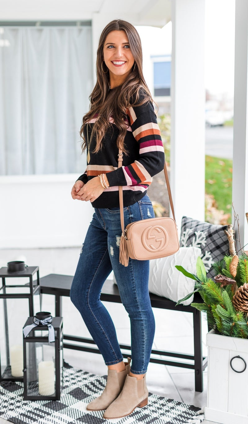 Peyton Striped Sweater, Black