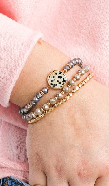 Hexagon Beaded Stretch Bracelet, Rose or Mocha