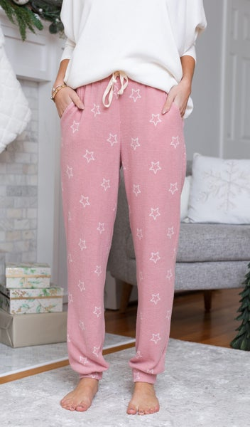 DOORBUSTER!!  Love Does It All Jogger, Pink & Ivory Star
