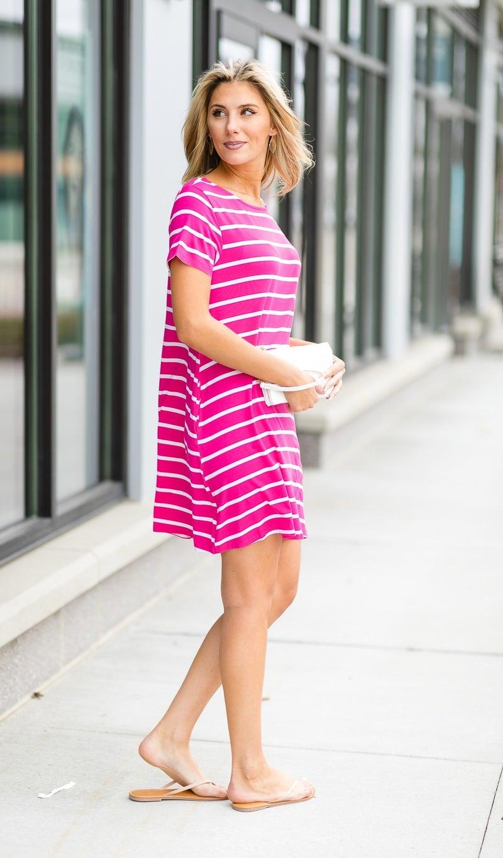 Sunsational Striped Dress, Fuchsia