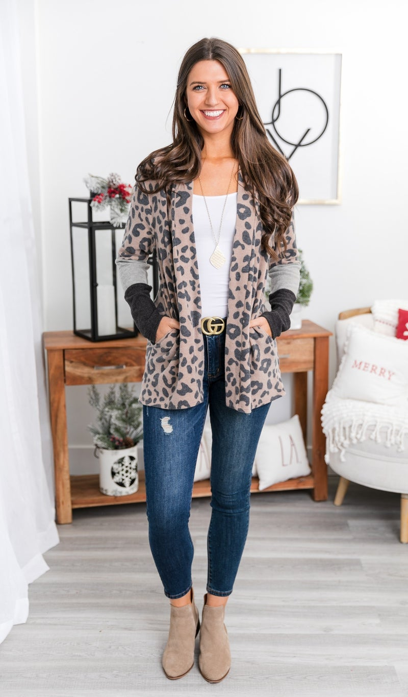 Easy Breezy Print Cardigan, Taupe *Final Sale*