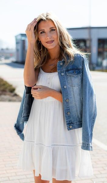 Tatum Tiered Mini Dress, Off White *Final Sale*