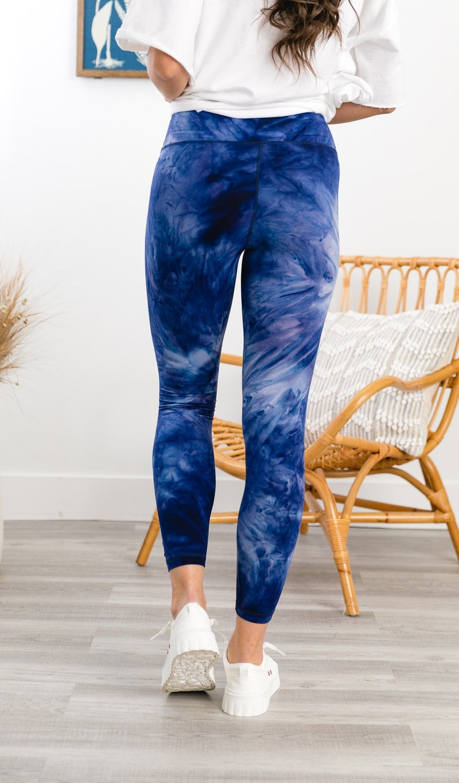 Ocean Run Butter Leggings, Navy Tie Dye