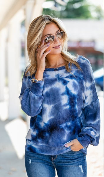 Away With Me Waffle Knit Top, Blue Tie Dye