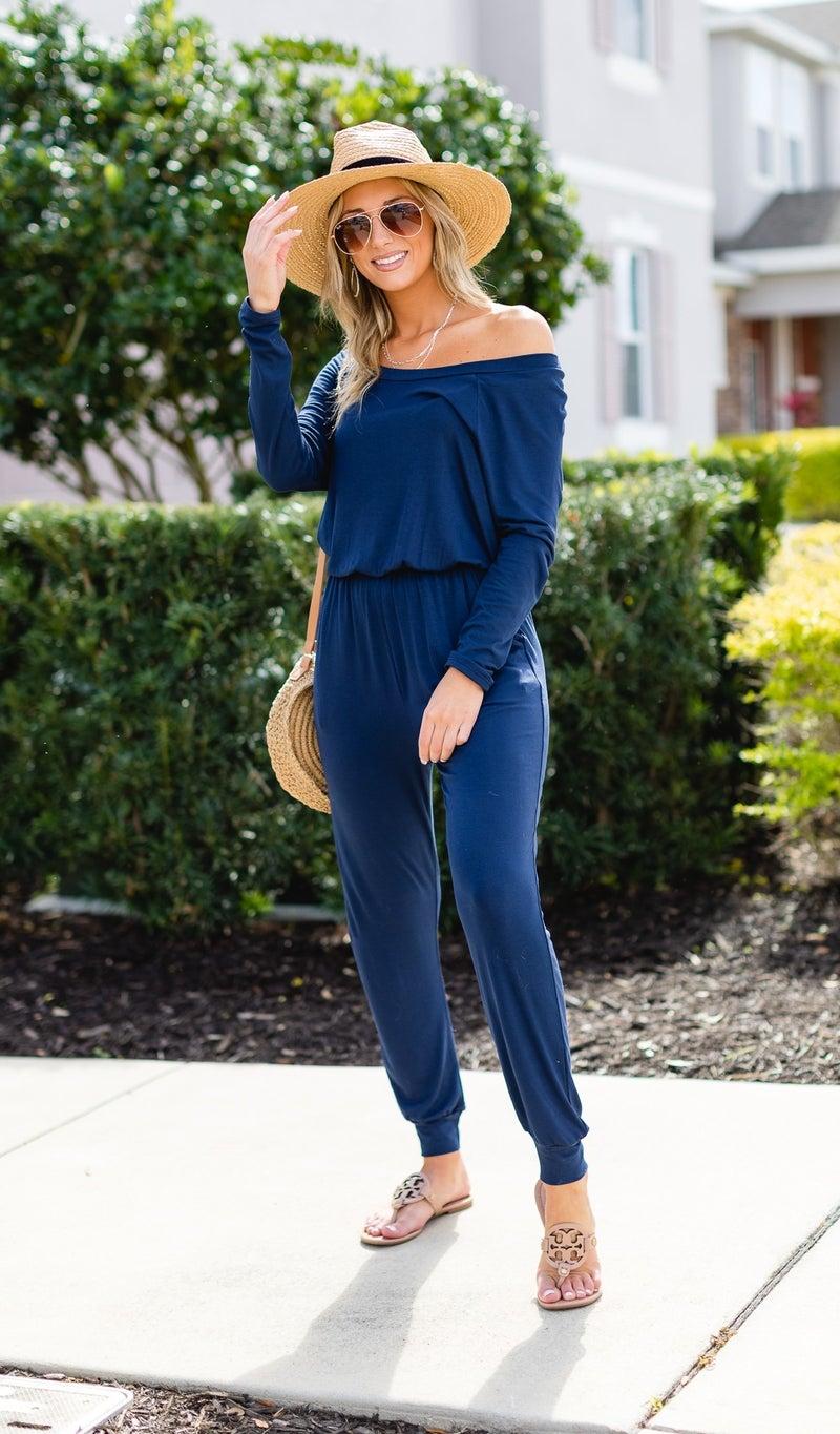 Cali Dreaming Jumpsuit, Navy