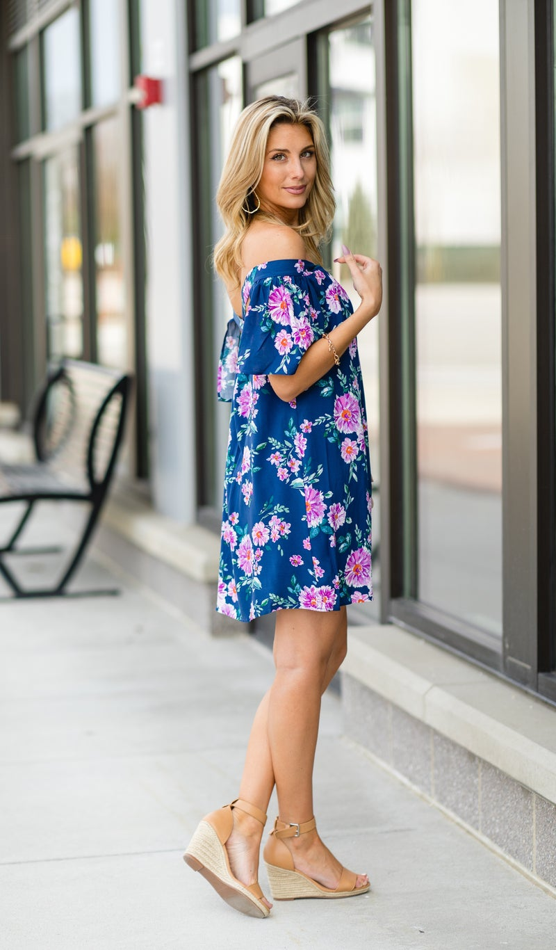 The Floral Love Dress, Navy