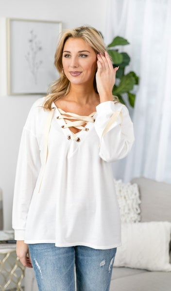 Winter Favorite Lace Up Top, Ivory