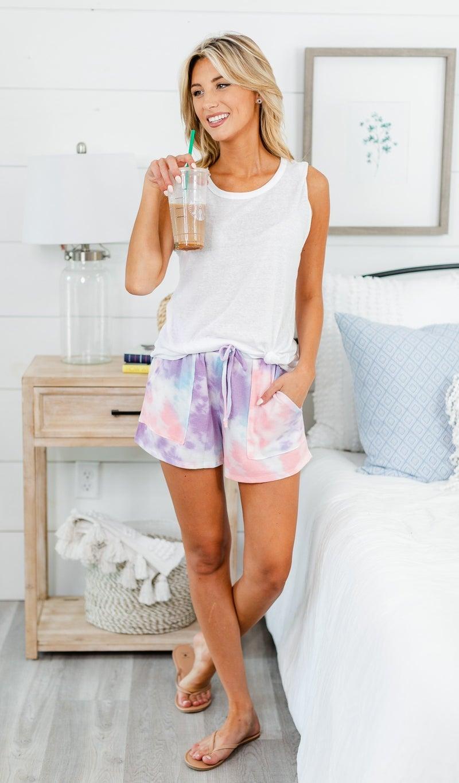 Cool Breeze Shorts, Purple Tie Dye