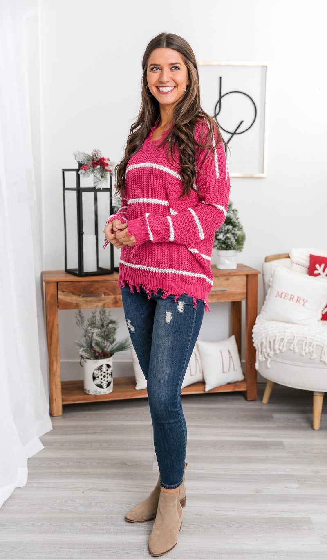 Chic n' Chute Sweater, Fuchsia Stripe