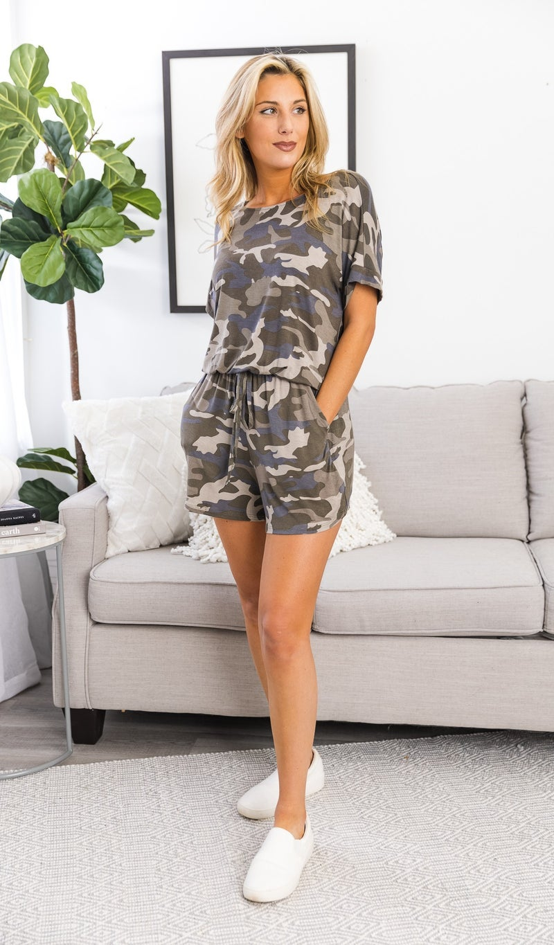 On The Trend Romper, Dusty Camo
