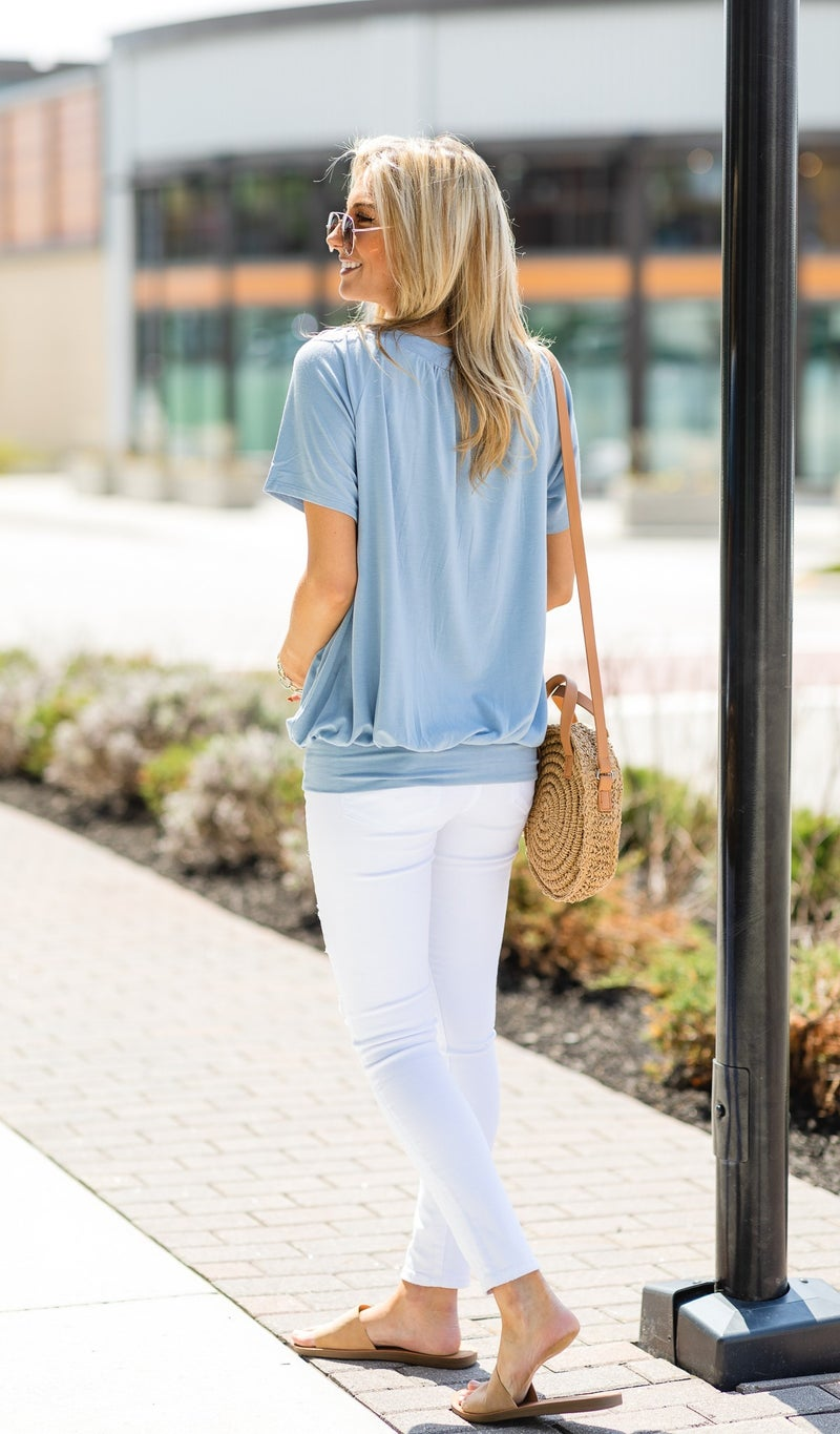 The Brightest Day Top,  Mint, Rose, Ash Blue, Black and Ivory