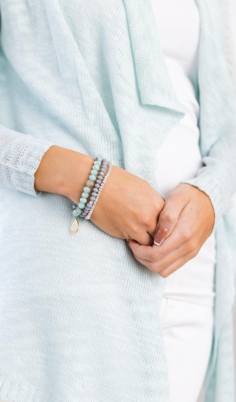 Beaded Stack Bracelets, Mint or White
