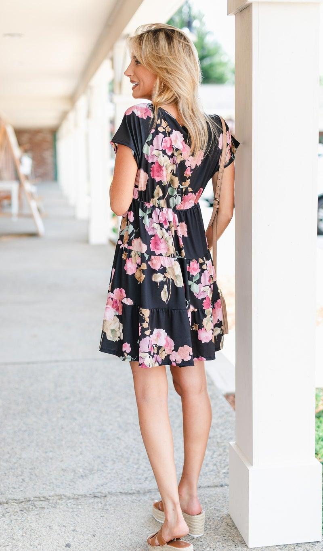 Amber Floral Dress, Black