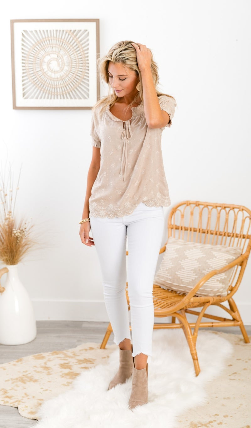 The Cleo Blouse, Taupe